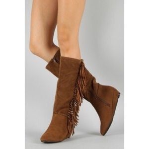 Cognac Brown Fringes Boots by Breckelles Size 7!